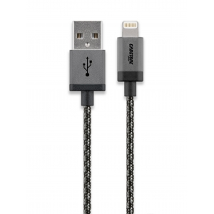 USB 2.0 - Lightning kaabel 0.3m, apple sertifitseeritud, tekstiilist must/hõbe