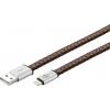 USB 2.0 Lightning kaabel 0.2m, Apple telefonide laadimiseks, lapik, nahast