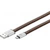 USB 2.0 kaabel A - Micro B 1.0m, laadimiseks, lapik, nahast