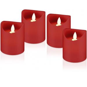 LED küünlad, komplektis 4 küünalt, punane