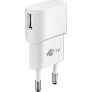 USB laadija 100-240V > 5V 1A, 1 USB port küljel, valge