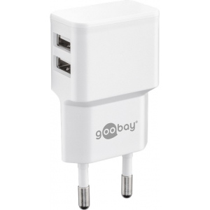 USB laadija, 100 - 240V > 5V 2.4A, 2xUSB porti küljel, valge