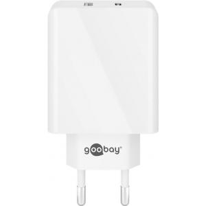 USB laadija 1xUSB-C 3A ,1xUSB 100 - 240V > 5V 2A, valge
