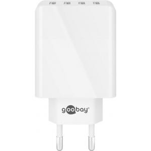 USB laadija, 4 x USB, 100 - 240V > 5V 3A, valge