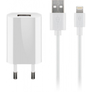 USB laadija 100-240V > 5V 1A, 1xUSB port + Apple Lightning kaabel, valge