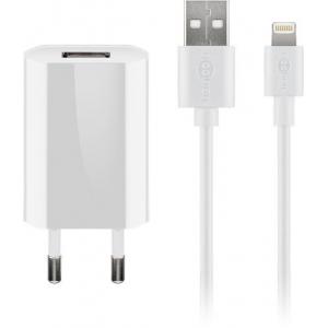USB laadija 100-240V > 5V 1A, 1xUSB port + Apple Lightning kaabel 1.0m, valge