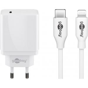 USB laadija 1xUSB-C PD (18W) + Apple Lightning kaabel 1.0m, valge