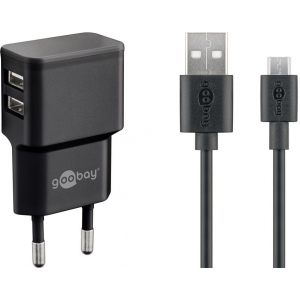 USB laadija, 100 - 240V > 5V 2.4A, 2 USB porti küljel, must, kaasas USB micro kaabel