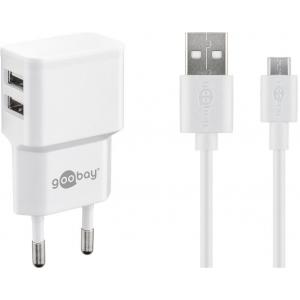 USB laadija, 100 - 240V > 5V 2.4A, 2 USB porti küljel, valge, kaasas USB-C kaabel