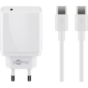 USB laadija, 1 x USB-C PD (18W), 100 - 240V > 5V 3A, kaasas USB-C kaabel, valge