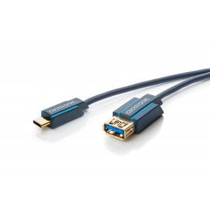 USB-C pikenduskaabel C - A (F) 0.5m, USB 3.1-USB 3.0, 5Gbps, kullatud, OFC, topeltvarjega