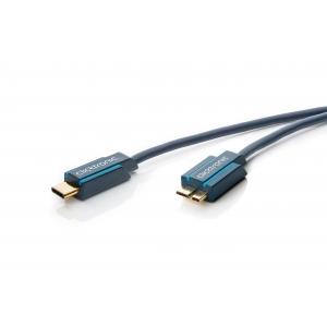 USB-C kaabel - Micro B 3.0m, kullatud, OFC, topeltvarjega