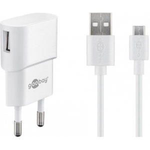 USB laadija 100-240V > 5V 1A, 1 USB port, USB kaabel 1.0m, valge