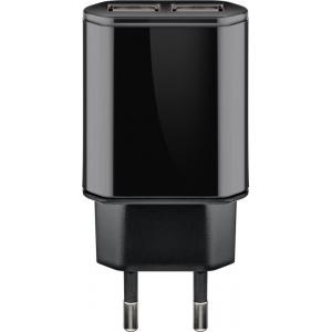 USB laadija, 100 - 240V > 5V 2100mA, 2 USB porti, Slim