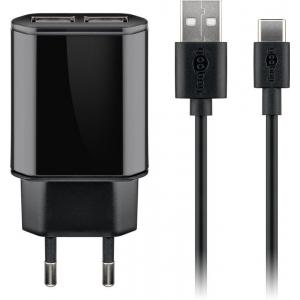 USB laadija, 100 - 240V > 5V 2.4A, 2 USB porti, must, kaasas USB-C kaabel