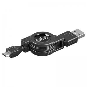 USB 2.0 kaabel A - Micro B 0,75m (laadimiseks), roteeruv, must