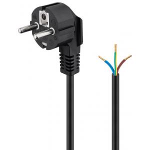 220V Toitekaabel 2.0, must,  CEE 7/7 - lahtise otsaga