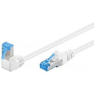 Võrgukaabel Cat6 S/FTP 1.0m, valge, (1x90° nurgaga üles), PiMF, LSZH, CU