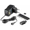 Universaalne toiteplokk, sisend: 100-240VAC, väljund: 3-12VDC, 0.6A, USB