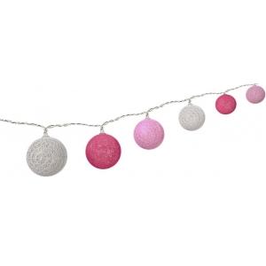 LED valguspallid, puuvillanöörist, patareidega (valge, heleroosa, roosa)