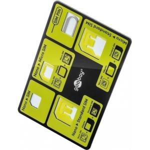 SIM-kaardi adapterite komplekt hoidikuga, krediitkaardi formaadis, must/roheline