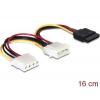 SATA Toitekaabel 4 pin (M) - Sata 15 pin (F) + toide 4 pin (F) 0.2m