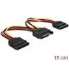SATA Toitekaabel 15pin - 2x SATA 15 pin, 0.15m, sirge