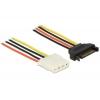 Toitekaabel SATA 15pin (F) - 4pin (F) 0.3m