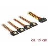 SATA Toitekaabel 15pin - 4x SATA 15 pin, 0.15m