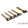 SATA Toitekaabel 15pin - 4x SATA 15 pin, 0.5m
