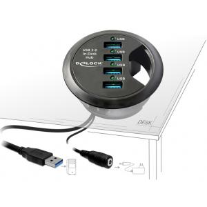 USB 3.0 Hub: 4 x USB 3.0, laua sisse paigaldatav, juhtmerosett