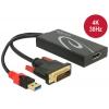 Konverter DVI (M) + USB 2.0 (M) - Displayport (F) 3840x2160@30Hz, 0.3m,