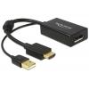 Konverter HDMI (M) - Displayport 1.2 (F) 2160p, USB toide, must