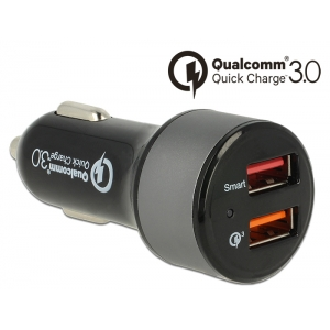 USB Autolaadija, 2x USB 2.0-A, 12V/24V, Qualcomm Quick Charge 3.0