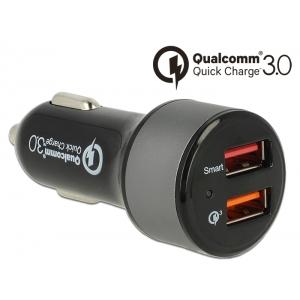 USB Autolaadija, 2x USB 2.0-A, 12V/24V, ...