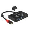 Üleminek USB 3.1 C (M) - 2 x USB 3.0 + 1 x HDMI (F) 4K@30Hz