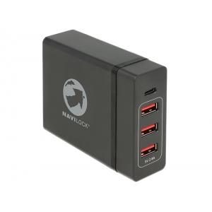 USB laadija, 1 x USB-C, 3 x USB pesa, 230V, must