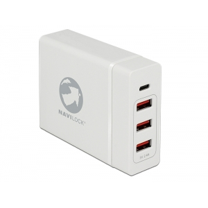 USB laadija, 1 x USB-C, 3 x USB pesa, 230V, valge