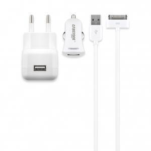 USB laadija Apple toodetele + autolaadija + Apple kaabel 1.2m, 100 - 240V > 5V 2100mA, valge
