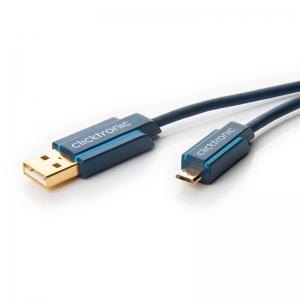USB 2.0 kaabel A - Micro B 0.5m, kullatud, OFC, topeltvarjega