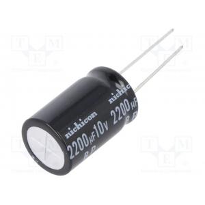 Elektrolüütkondensaator bipolaarne 2200uF 10V 10x20mm Nichicon UEP seeria