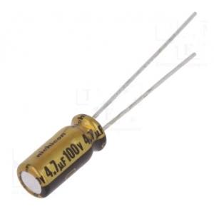 Elektrolüütkondensaator audio 4,7uF 100V 5x11mm Nichicon FW seeria