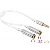 Splitter 3.5mm 3 pin (F) - 2x3.5mm (M) 0.25m, valge