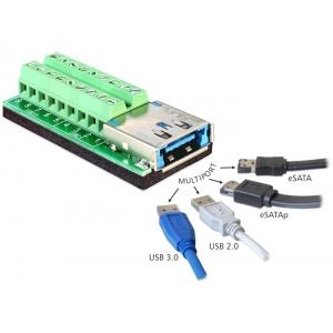 USB 3.0 + eSATAp (F) - Terminal Block 18pin
