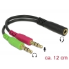 Adapter 3.5mm (F) - 2x3.5mm (M) 0.12m, CTIA, must