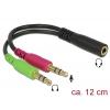 Adapter 3.5mm (F) - 2x3.5mm (M) 0.12m, CTIA, must