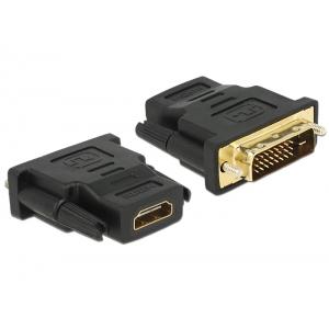 Üleminek DVI-D (M) - HDMI (F), kullatud kontaktid, must
