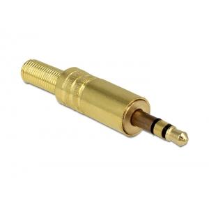 3.5mm stereo pistik kaablile, metall, kullatud, murdumiskaitsmega