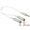 Splitter 3.5mm 4 pin (F) - 2x3.5mm (M) 0.25m, valge