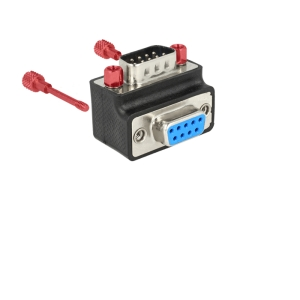 Adapter Sub-D 9 pin (M) - Sub-D 9 pin (F), 90° nurgaga, kruvikinnitusega